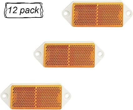 ETUKER reflectores traseros rectangulares reflectantes de seguridad reflectores de poste Paquete de 8 reflectores traseros amarillo