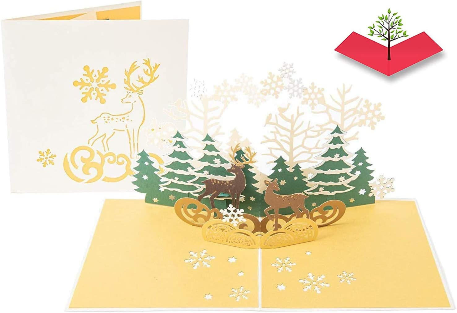 Amazon Com Poplife Reindeer In The Forest Pop Up Christmas Card Handmade 3d Holiday Greeting Thanksgiving Blank Note Small Stocking Present For Friends And Family Naughty Or Nice Office Products