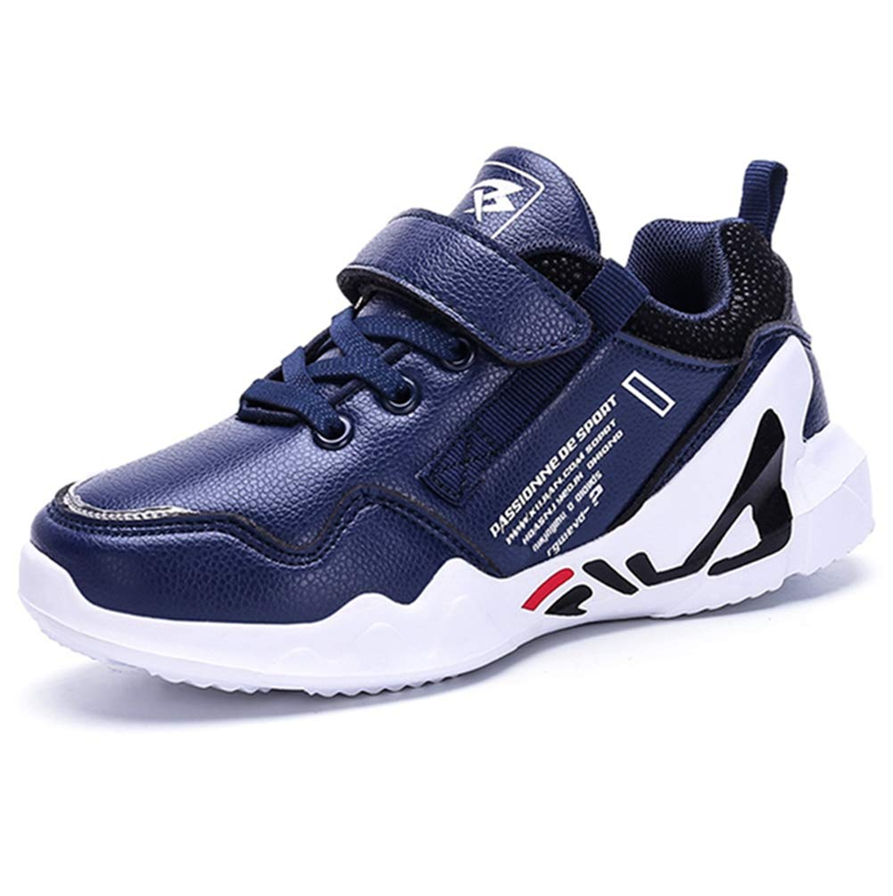 LGXH Waterproof Boys Girls Causal Sneakers Soft Breathable Slip On Kids Sports Running Walking Shoes Dark Blue Size 1.5 M US Little Kid