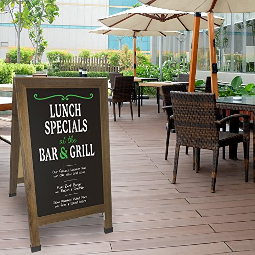 Sandwich Board Sidewalk Chalkboard Sign: REINFORCED, HEAVY-DUTY / 10 CHALK MARKERS / 40 PIECE STENCIL SET / CHALK / ERASER / DOUBLE SIDED / LARGE 40x23 Chalk Board Standing Sign A-Frame (Rustic) by Excello Global Products (Image #6)