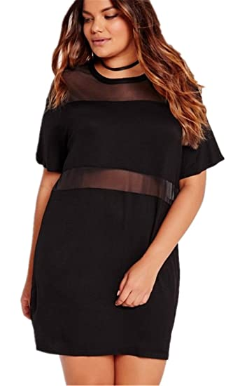 Arctic Cubic Sexy Plus Size Sheer Mesh Spliced Short Sleeve T Shirt