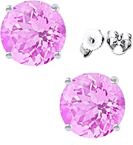 FANTOM JEWELRY 2 Carat Total Weight Sterling Silver Pink Cubic Zirconia Stud Earrings