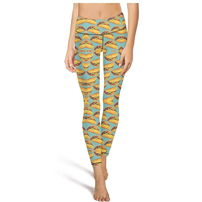 Amazon.com: DKEKDKD Taco Pattern Yoga Pants Women Pockets ...