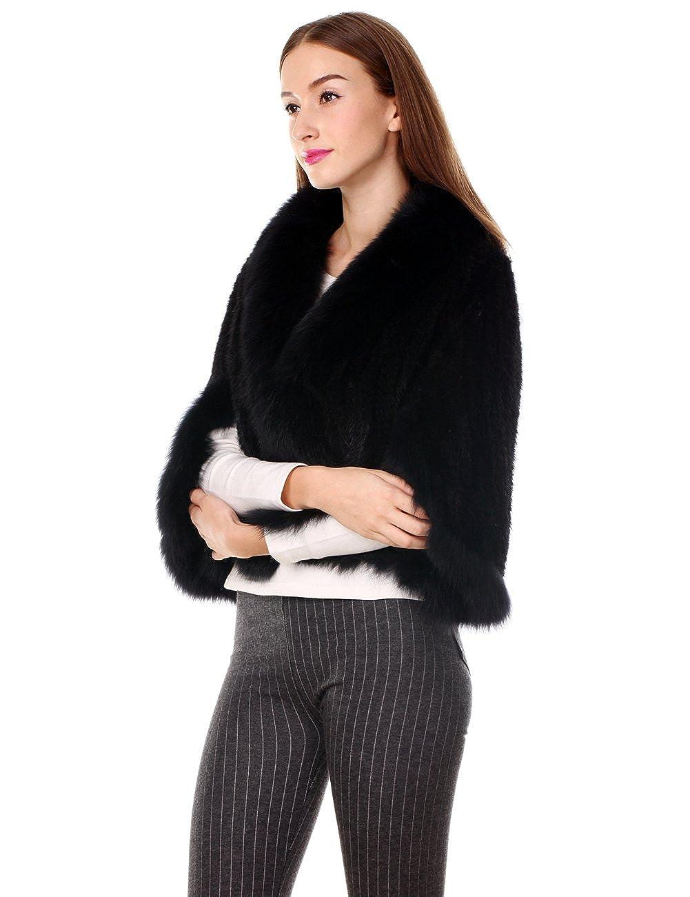 Ferand Stola Elegante in Vera Pelliccia di Visone con Colletto in Pelliccia Di Volpe Donna Taglia Unica Per Inverno