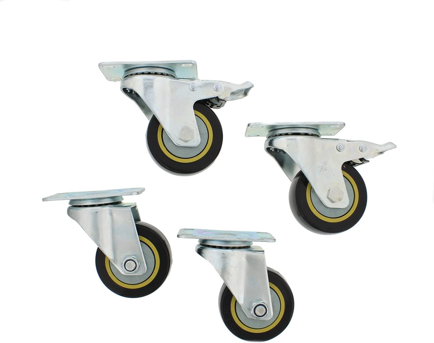 ABN Caster Wheel, 3in, Set of 4 – Heavy-Duty Swivel Stem Locking Casters with Hard Rubber Wheels for Furniture