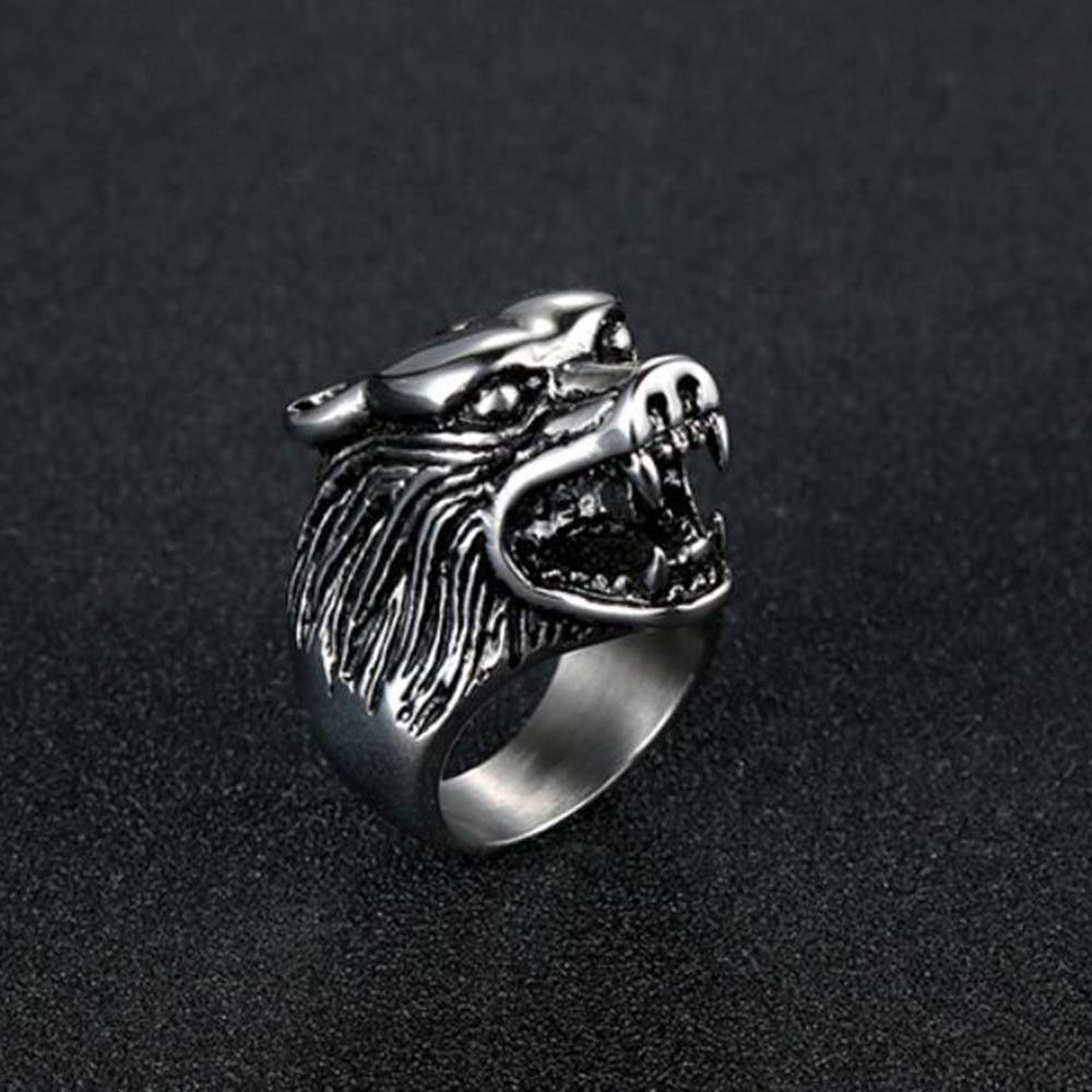 Dixinla Rings Steel , European and American Men's Personality Retro Domineering Totem Titanium Steel Wolf Head Ring Jewelry Gift for Family or Friends