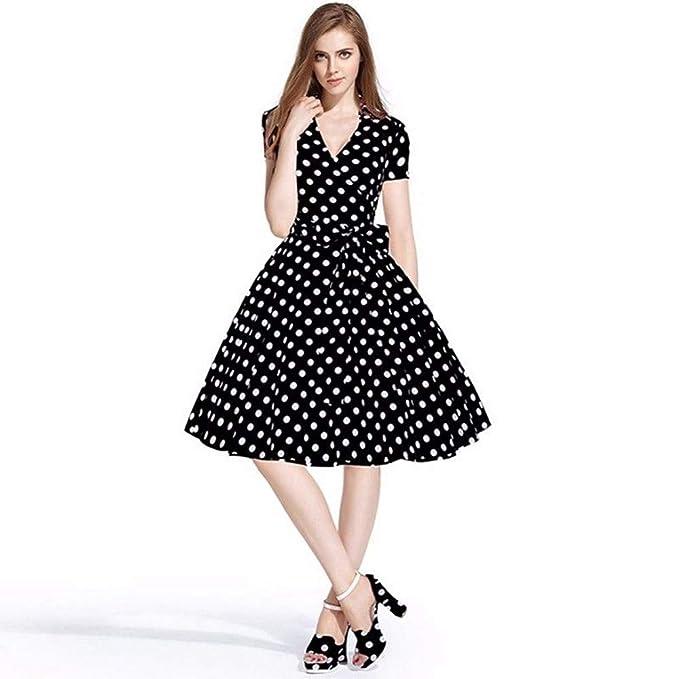 BaZhaHei Vestidos de Mujer Falda Mujeres Vestido de Fiesta 50S 60S Swing  Pinup Retro Ama de casa Informal Partido Bola Sra. Impresión Vintage  Hepburn Estilo ... ece92e177439