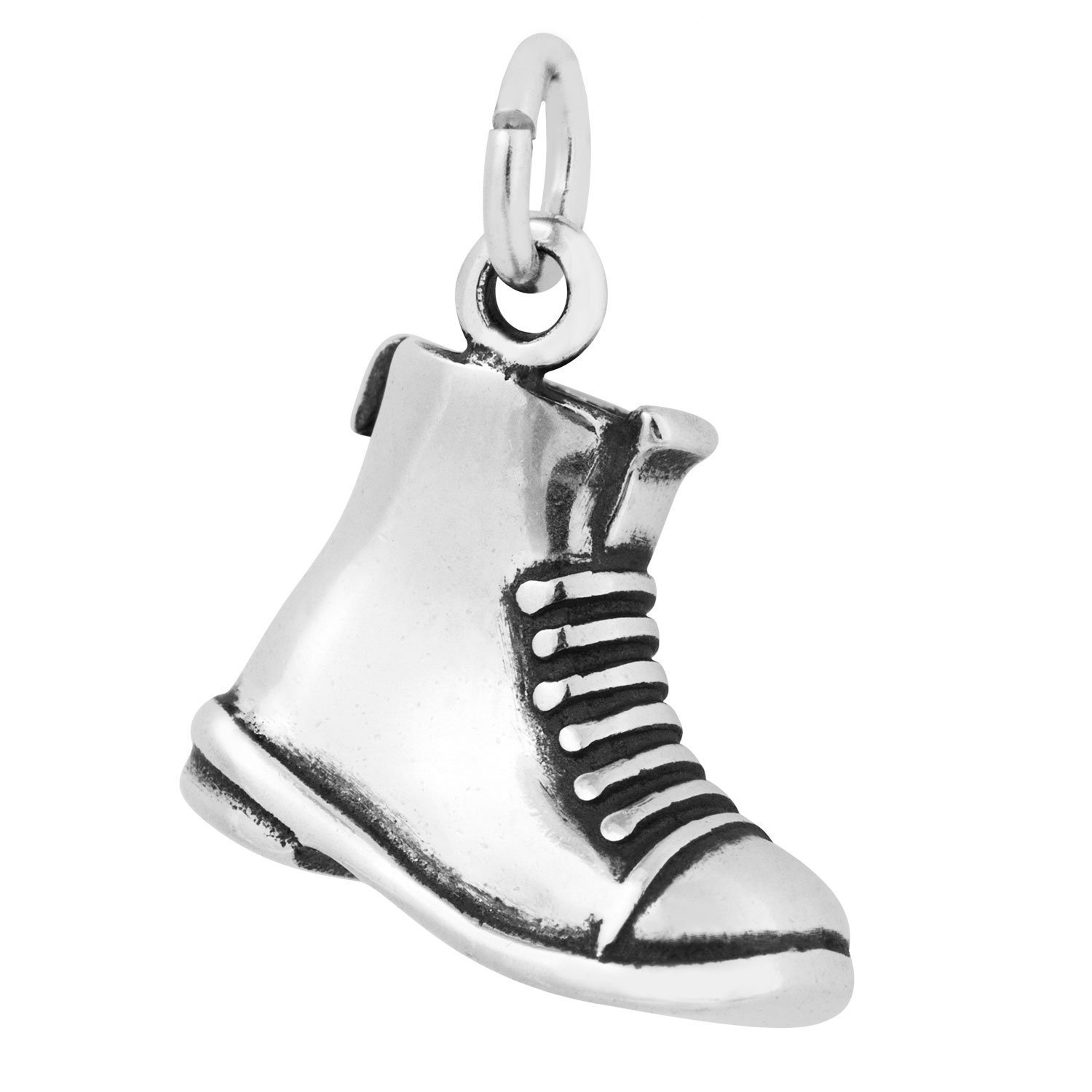 Sterling Silver Antiqued 3D Military Boot Charm on a Sterling Silver Carded Box Chain Necklace, 18''