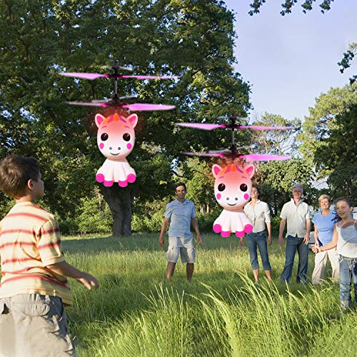 Unicorn Flying Ball RC Toy for Kid Girls,Inductive Flying Toys Drone Helicopter with Remote & Hand Controlled Rechargeable Flash Light Indoor Outdoor Light Up Toy Party Favors Supplies Gift for 3+ Boy by Randosk (Image #5)
