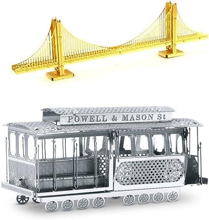 SET of 2 Metal Earth Golden Gate Bridge /& Cable Car 3D Laser Cut DIY Model Kits
