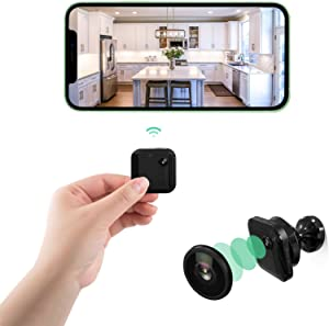 LCYATCE Mini WiFi Wireless Spy Camera, Portable Hidden Camera 1080P HD Nanny Cam with Night Vision Motion Detection Audio and Video Recording, for Home Security Surveillance Baby Monitor