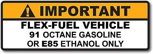 Flex Fuel Vehicle 91 Octane or E85 Ethanol Gas Gasoline Fuel Tank Sticker Decal