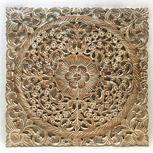 Wall Art- Oriental Carved Lotus Wood Plaque 24