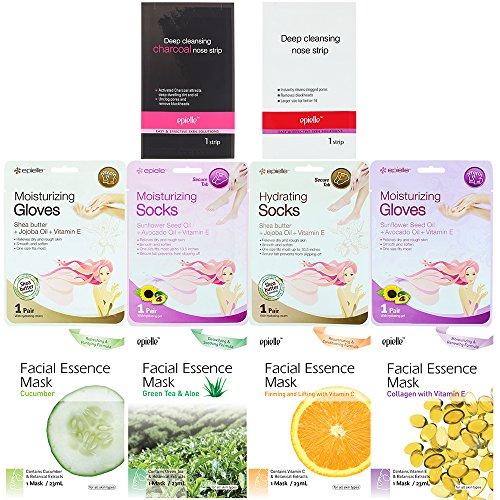 Kareway Epielle Assorted Skincare Samples | Facial Masks, Nose Strips, Moisturizing Socks & Gloves | (Pack of 10)
