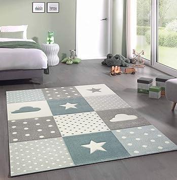 Merinos Kinderteppich Junge Teppich Kinderzimmer mit Stern Wolke in Blau  Grau Creme Größe 140x200 cm