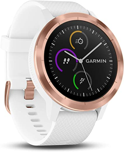 Garmin Vivoactive 3 GPS Smartwatch with Built-in Sports Apps and Wrist Heart Rate - Rose Gold/White