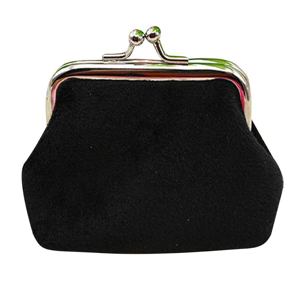 One Dollar ! JJLIKER Women Solid Cordroy Kiss Lock Small Wallet Key Coin Bag Mini Clutch Black