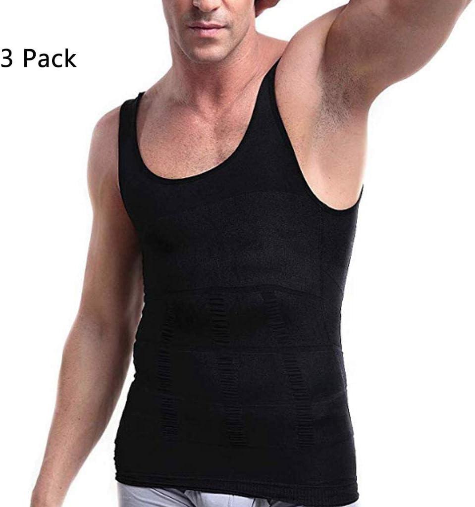 HAOHAOWU Chaleco de Adelgazamiento, Faja para Hombre Camisa Chaleco de compresión elástica de Adelgazamiento de la Forma Chaleco escultural Transpirable (3 Paquetes),Black,XXL: Amazon.es: Deportes y aire libre