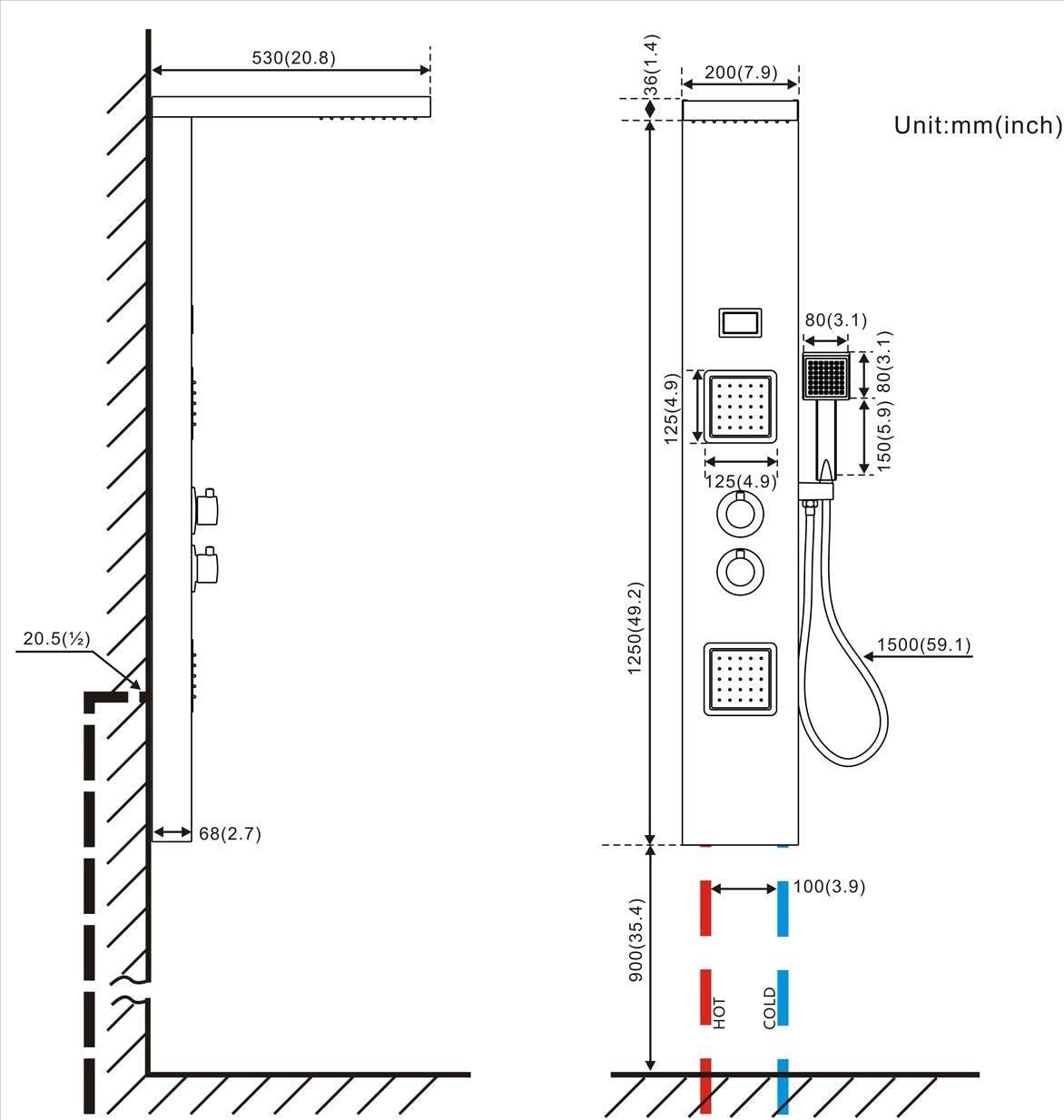 Auralum - Columna de Hidromasaje Termostático Ducha Moderna 3 ...