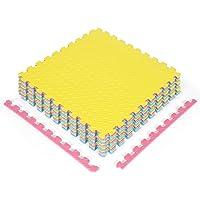 COSTWAY EVA oefen vloermatten met rand (12-delige/ 63 x 63 x 1,2cm/ totaal 4,76㎡), in elkaar grijpende zachte schuim…