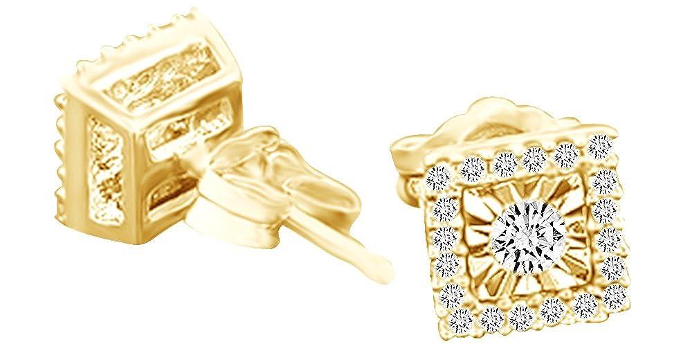 1 Karat Rundschliff Weißszlig; natürlicher Diamant Quadratisch Ohrstecker in 14 ct 585 Massiv Weißszlig; Gold 14 Karat (585) GelbGold