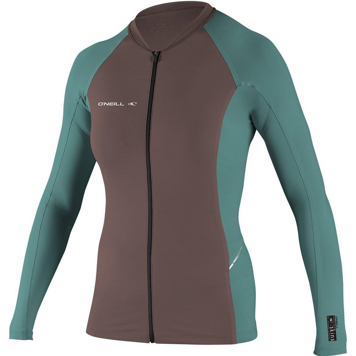O'Neill Women's Premium Skins Stitchless UPF 50+ Long Sleeve Full Zip Jacket, Pepper/AquaHaze, Small