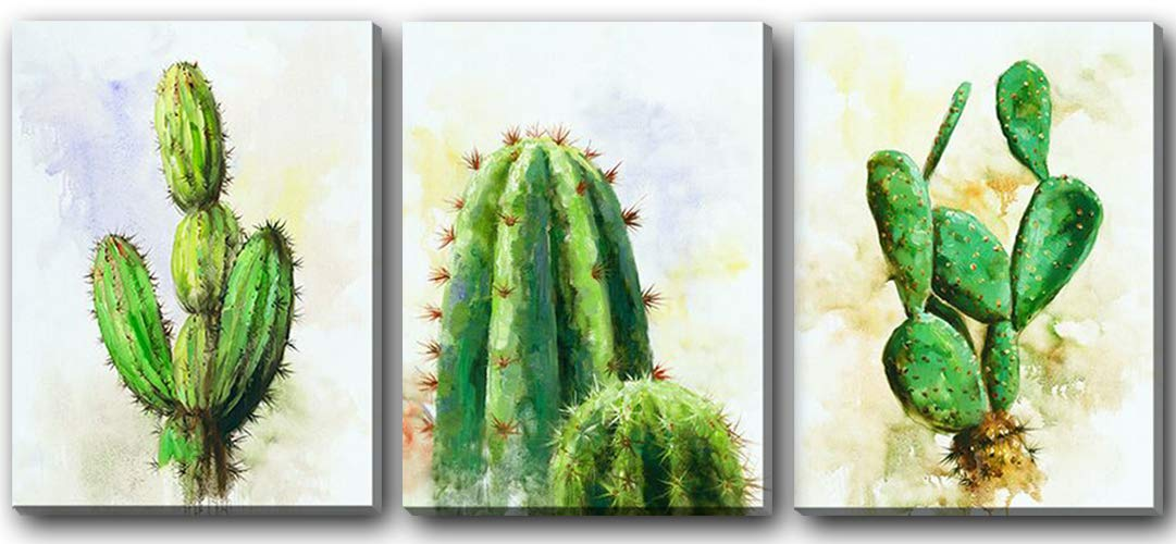 Hongwu Canvas Wall Art Cactus Plant Painting 3 Piece Canvas Prints Succulent Cactus Pictures Stretched and Framed Ready to Hang for Home Office Wall Decor 12x16inch Hongwu Arts