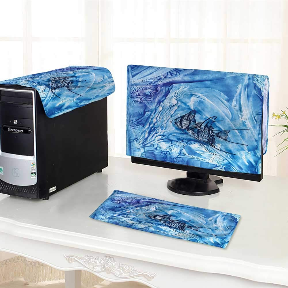 Jiahonghome コンピュータダストカバー フラワー 対称 インターレース ガーデン グリーン ブルー ダストカバー 3点セット /17インチ W29