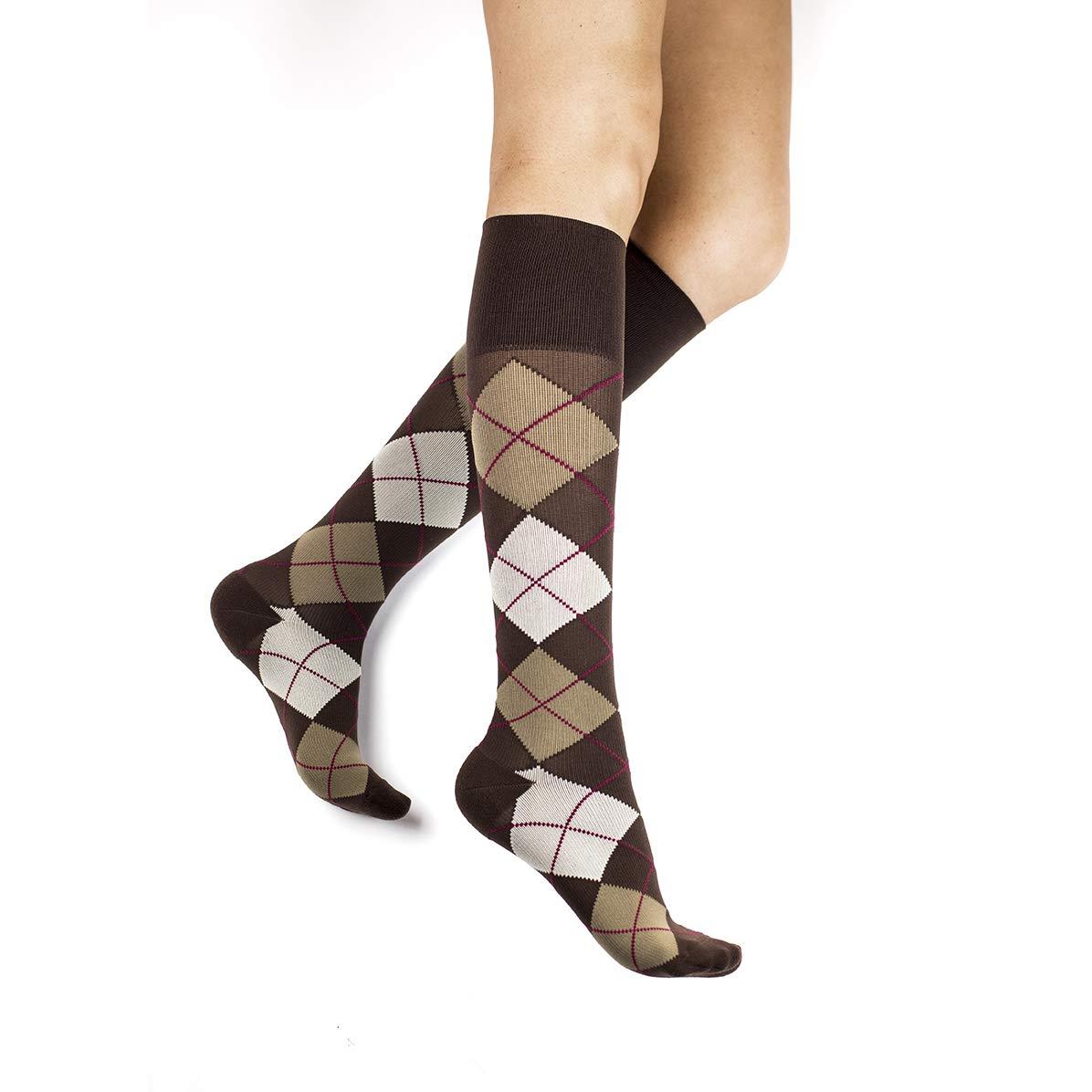 RejuvaHealth Compression Knee High, Unisex Sock Argyle-Chestnut, 20-30 mmHg by RejuvaHealth KARG2030X-CH