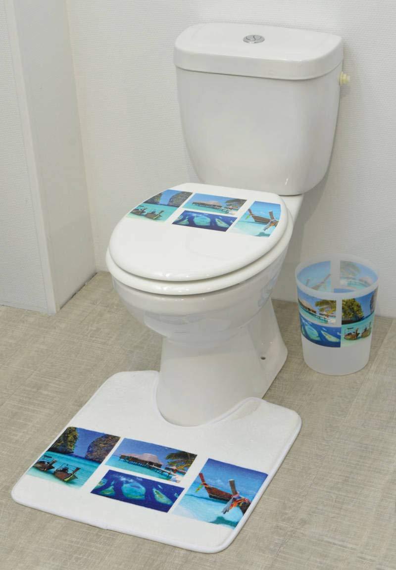 17 W x 29.5 L EVIDECO 7701370 Printed Microfiber Bath Rug Paradise Blue 17w X 29.5l