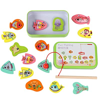 URMAGIC 15Pcs Bath Toys Set,Magnetic Fishing Toys for Kids,Bath Toys Fishing Game,Wooden Magnetic Fishing Toy Set Fish Parent-Child Exchange Interactive Toy,Learning Education Toy Set for Kids: Toys & Games