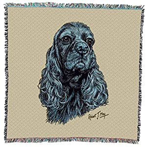 Pure Country Weavers - Cocker Spaniel Black Woven Throw Blanket with Fringe Cotton. USA Size 54x54 8