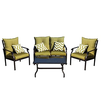 Voberry@ 5-Piece Outdoor Patio Furniture Chair Table Set Sofa Cushioned Seat Garden Set, Ships from Us Black 1