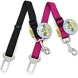 BPS(R) 2x Cinturón de Seguridad de Coche ,Ajustable para Perro,Color:Azul Oscuro ,Azul Claro,Verde y Rojo,Safety Belt para Cachorro Gato Gata Mascotas Animales,Tamaño:(2.0 x 40/58cm). BPS-2675*2