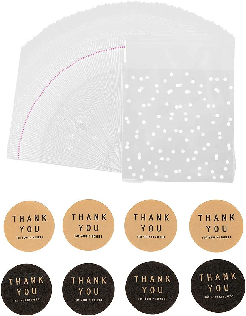 400PCS White Polka Dot Treat Bags Self Adhesive Candy Cookie Bags, 200 Cellophane Bags + 200 Thank You Sticker for Bakery Biscuit Chocolate Snacks Dessert (5.5x5.5Inches, White Polka Dot+Sticker)