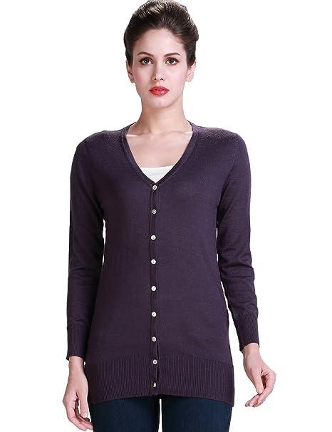 Amazon.com: Camii Mia Casual lana chaqueta de punto de manga ...