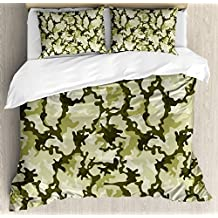 Camo Duvet Cover Set by Ambesonne, Pattern in Green Shades Army Background Woodland Wild Nature, 3 Piece Bedding Set with Pillow Shams, Queen / Full, Light Green Dark Green Pale Green