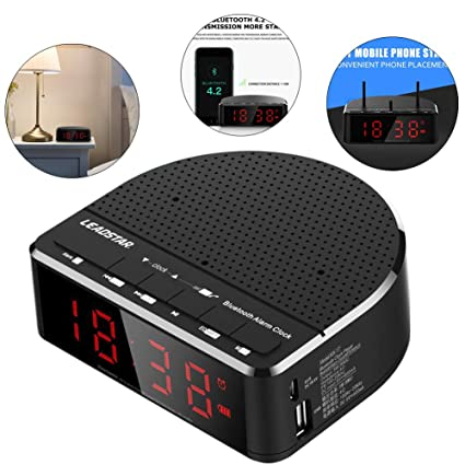 HEDDK Reloj Despertador Digital Inteligente Inalámbrico Bluetooth Altavoz Radio FM Tarjeta de Mini Altavoz Reproductor de