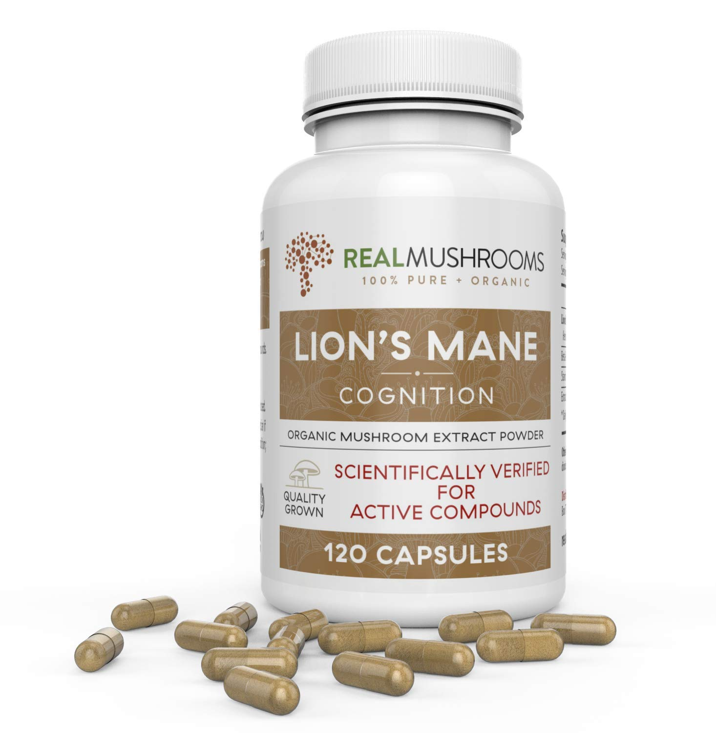 Organic Lions Mane Mushroom Capsules by Real Mushrooms - 120 Capsules of Extract Powder, White