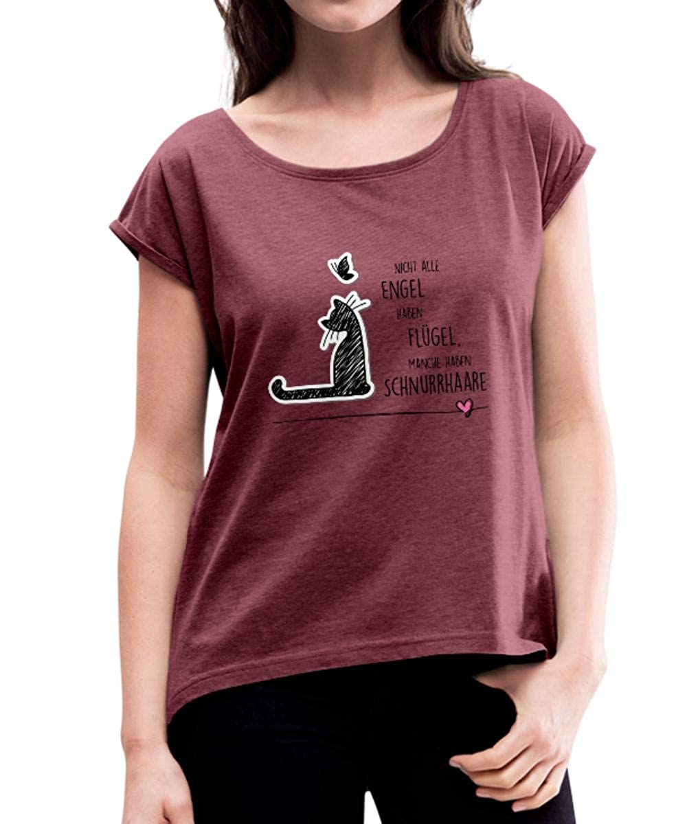 Katzen Engel Schnurrhaare Schmetterling Frauen T-Shirt mit gerollten Ärmeln