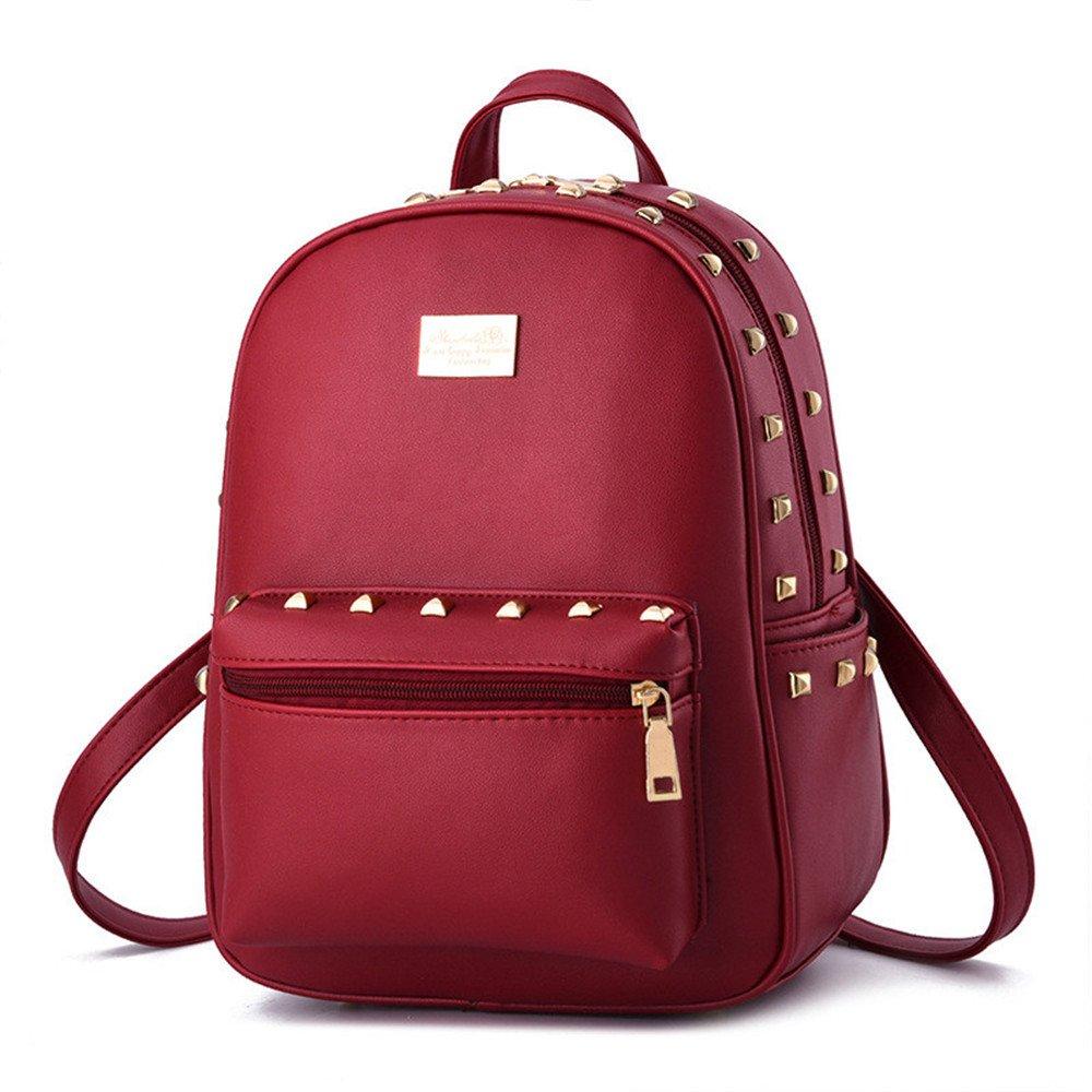 Cute Girls Small PU Leather Backpacks Satchel Tote Purse Handbag Travel Daypack,Wine