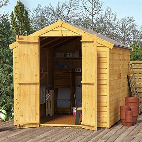 Cobertizo de madera de 8 x 6 – BillyOh, sin ventana, doble puerta, cobertizo tipo pirámide, solapado, 8 pies x 6 pies.: Amazon.es: Jardín