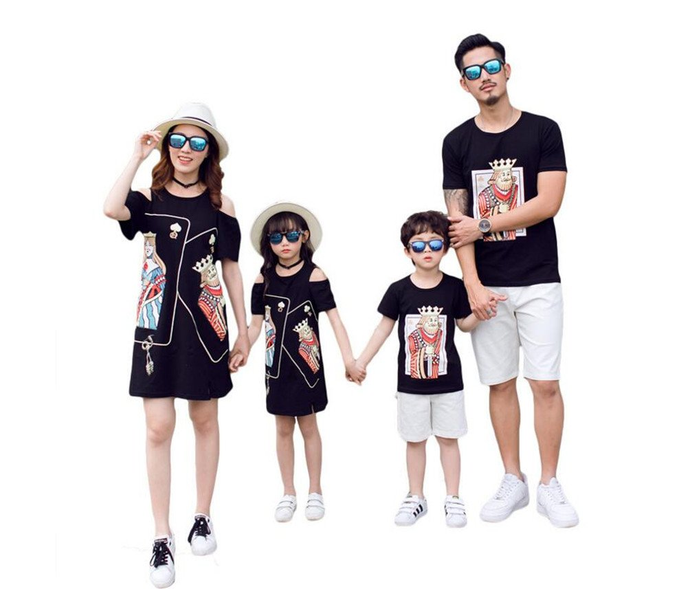 Elufly Family Matching Outfits Mom & Me Dress Dad & Baby T-Shirt Parent-Child Clothes (Girl A, Size 150)
