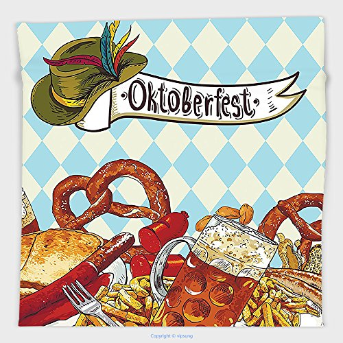 Bread Roll Costume (Vipsung Microfiber Ultra Soft Hand Towel-Oktoberfest Decorations Collection Bread Pretzel Carnival Partying Germany Costume Cheerful Festival Illustration Brown Blue For Hotel Spa Beach Pool Bath)