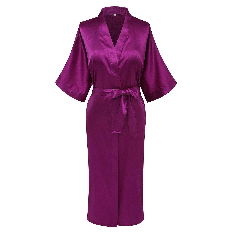 Jam Purple3 goodmansam Women's Simplicity Style Nightwear Elegant Kimono Robes, Long