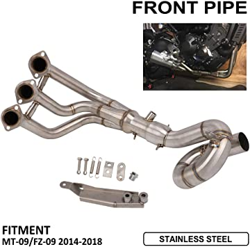 JFG RACING Motorcycle Exhaust Front Pipe Link Manifolds Connect Slip On Motorcycle Exhaust System For Yamaha MT-09 FZ-09 2014-2018 Silver