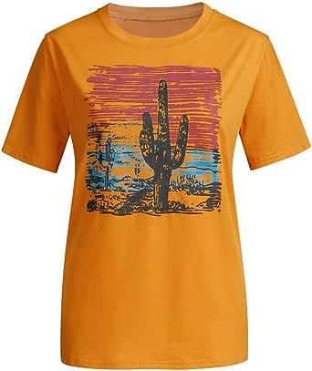 wyxhkj-Camisetas De Manga Corta Blusa Manga Corta Casual Cuello Redondo Tops Camisetas Estampado De Cactus Camisa Mujer Verano Blusa para Mujer: Amazon.es: Ropa y accesorios
