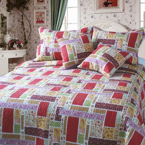 DaDa Bedding DXJ103269 Colorful Cotton Patchwork 5-Piece Quilt Set, King, Red (Comforter King Ensemble Piece 5)