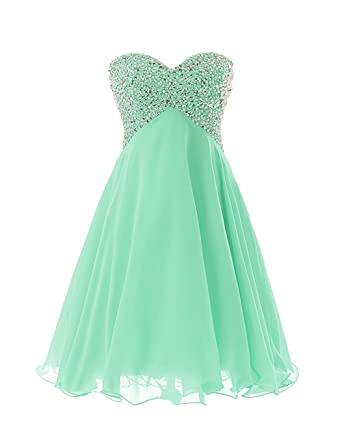 Dressystar Sweety Girls Cocktail Homecoming Gowns Prom Pageant Dress Lace-up Size 2 Mint