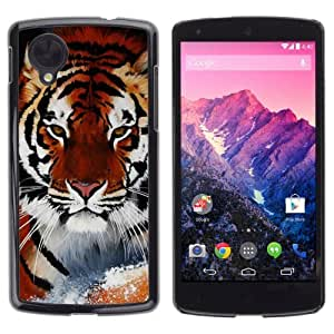 YOYOSHOP [Cool Snow Tiger] LG Google Nexus 5 Case